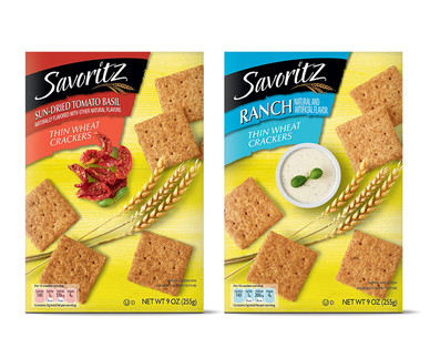 Savoritz Sundried Tomato or Ranch Thin Wheat Crackers View 1