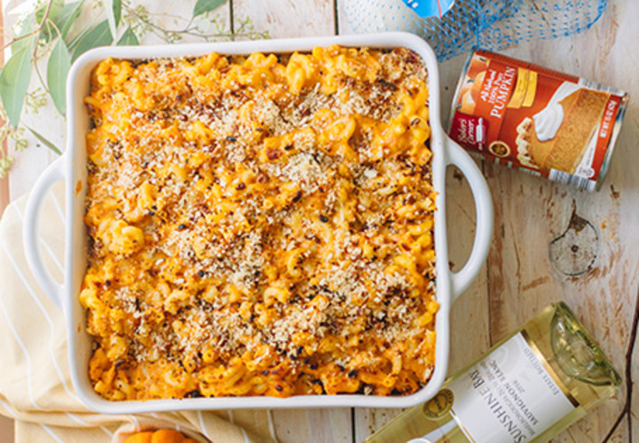Baked Pumpkin and Bacon Mac and Cheese