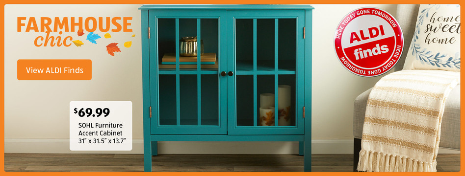 Farmhouse chic. SOHL Furinture Accent Cabinet: $69.99. View ALDI Finds.