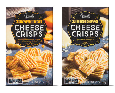 Specially Selected Cheese Crisps Asiago & Cheddar or Melting Romano