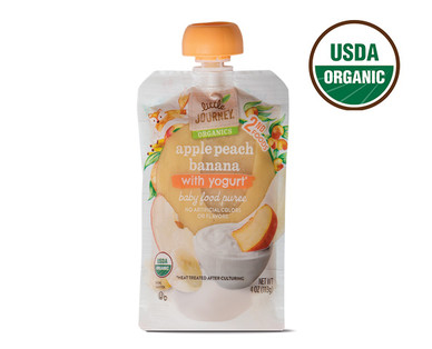Little Journey Apple Banana Peach Yogurt Baby Food Puree