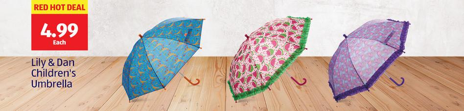 Red Hot Deal. 4.99 Each. Lily & Dan Children's Umbrella.