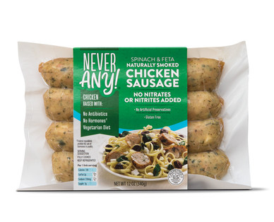 Never Any! Spinach and Feta Chicken Sausage