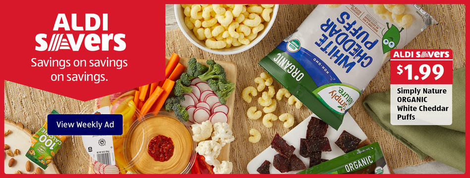 ALDI Savers: Simply Nature Organic White Cheddar Puffs. $1.99. View weekly ad.