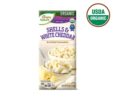 Simply Nature Organic Shells and White Cheddar.