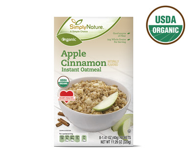 SimplyNature Organic Apple Cinnamon Instant Oatmeal