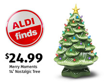 """ALDI Find: Merry Moments 14"""" Nostalgic Tree. $24.99. View details."""