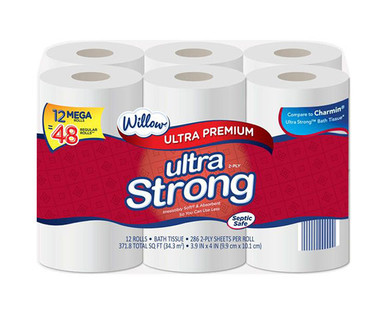 Willow 12 Mega Roll Ultra Strong Bath Tissue