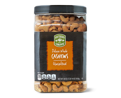 Southern Grove Unsalted Deluxe Whole Cashews