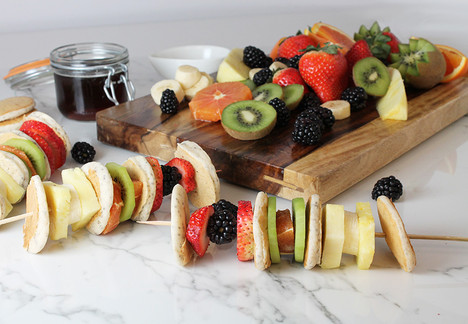 Rainbow Fruit and Pancake Skewers