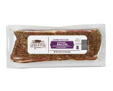 Appleton Farms Thick Sliced Bacon, Peppercorn