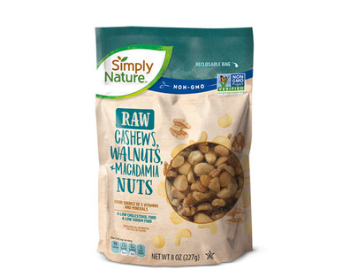 Simply Nature Raw Cashews, Walnuts, and Macadamia Nuts