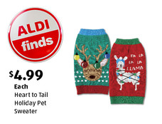 ALDI Find: Heart to Tail Holiday Pet Sweater. $4.99 each. View details.