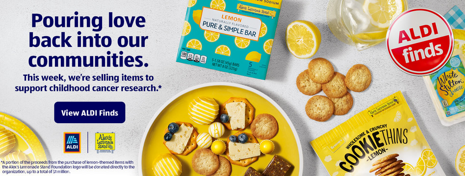 Pouring love back into our communities. This week, we're selling items to support childhood cancer research.View ALDI Finds.