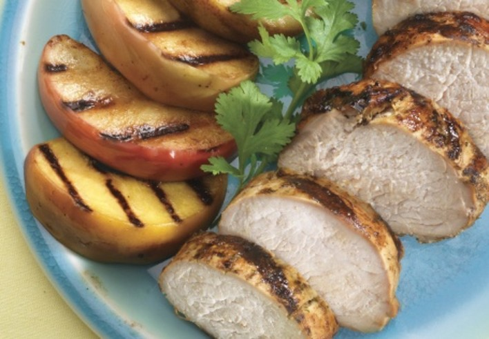 Grilled Pear and Apple Pork Tenderloin