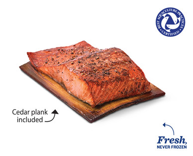 Fresh Honey Maple Atlantic Salmon on a Cedar Plank
