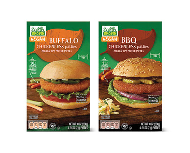 Earth Grown Buffalo or BBQ Chickenless Patties