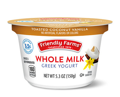 Friendly Farms Whole Milk Toasted Coconut Vanilla Greek Yogurt