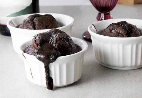 Red Wine Molten Dark Chocolate Cake