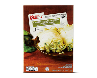 Bremer Chicken Spinach Artichoke Lasagna Rolls