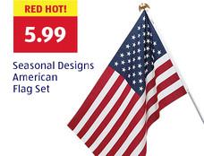 Red hot! Seasonal Designs American Flag Set: $5.99.