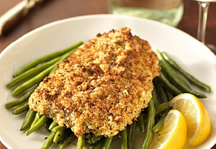 Mustard Crusted Salmon with Green Beans