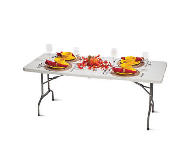 Easy Home 6' Folding Table with Wheels View 1
