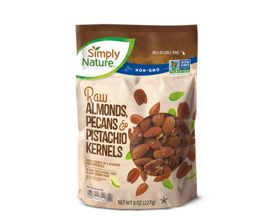 Simply Nature Raw Almonds Pecans and Pistachio Kernels