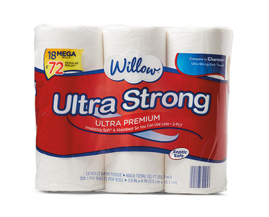 Willow 18 Mega Roll Ultra Strong Bath Tissue View 1