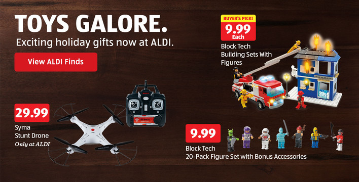 Toys galore. Exciting Holiday gifts now at ALDI. View ALDI Finds.