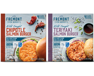 Fremont Fish Market Salmon Burgers Chipotle or Teriyaki