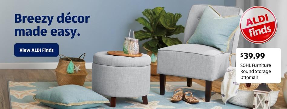 ALDI Find: SOHL Furniture Round Storage Ottoman. $39.99. View ALDI Finds.