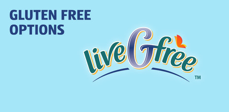 Gluten free options. Click to learn more about Live G Free.