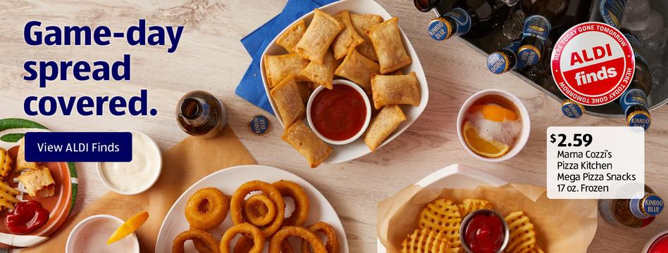 ALDI Find: Mama Cozzi's Pizza Kitchen Mega Pizza Snacks 17 oz. frozen. $2.59. View ALDI Finds.