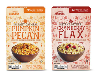 Millville Pumpkin Pecan or Cranberry Flax Instant Oatmeal