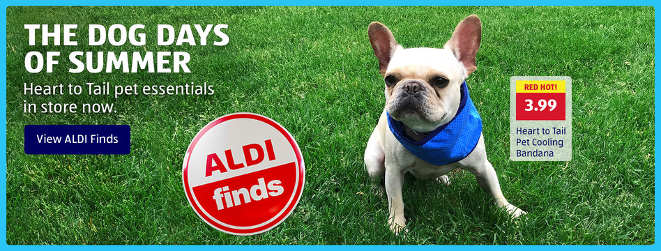 Heart to Tail pet essentials in store now. View ALDI Finds.