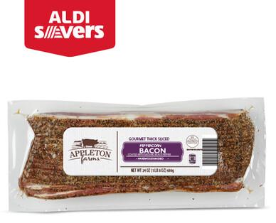 ALDI Savers Appleton Farms Peppercorn Thick-Sliced Bacon