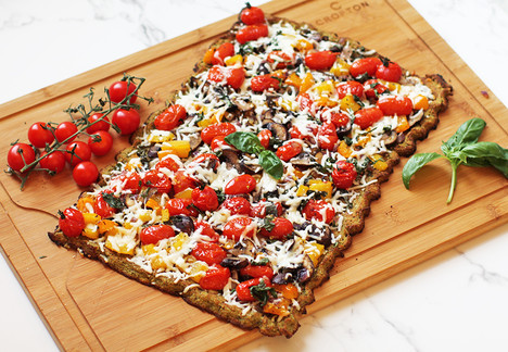 Cauliflower-Quinoa Sheet Pan Pizza with Roasted Vegetables