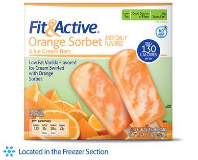 Fit and Active Orange Sorbet Ice Cream Bars