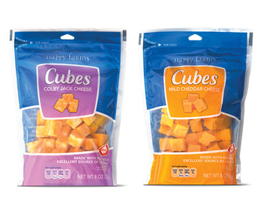 Happy Farms Mild Cheddar or Colby Jack Cheese Cubes