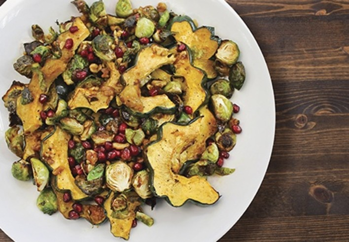 Roasted Acorn Squash and Brussels Sprouts