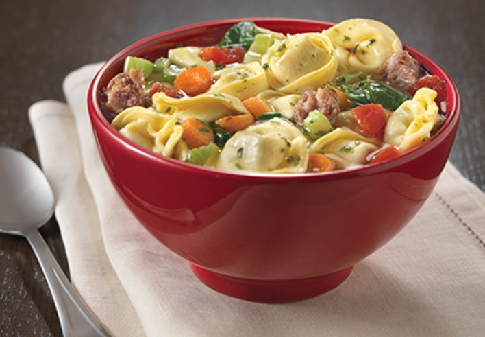 Italian Sausage and Spinach Soup with Tortellini