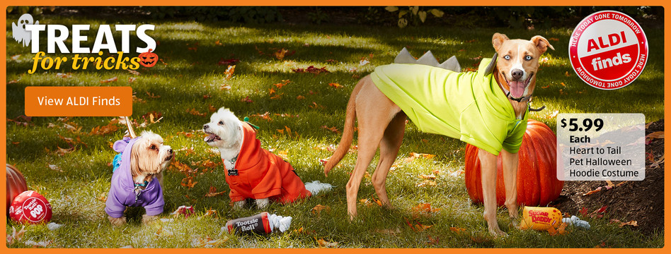Treats for tricks. Heart to Tail Pet Halloween Hoodie Costume. $5.99 each. View ALDI Finds.