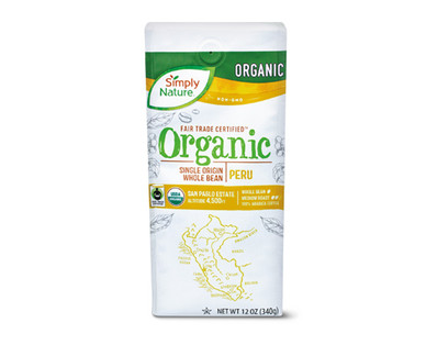 Simply Nature Fair Trade Organic Whole Bean Coffee Peru