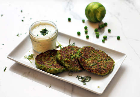 Pea Fritter with a Basil Lime Dipping Sauce