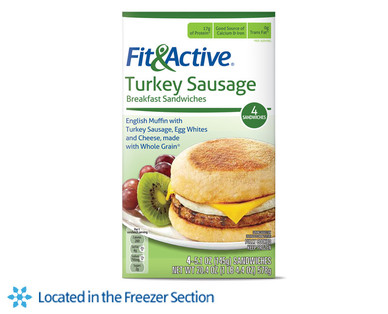 Fit and Active Turkey Sausage Breakfast Sandwiches