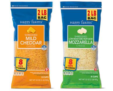 Happy Farms 2 lb. Shredded Mild Cheddar & Mozzarella Cheese