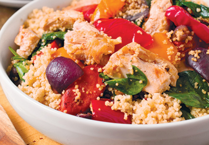 Grilled Chicken with Roasted Vegetables and Whole Wheat Couscous..