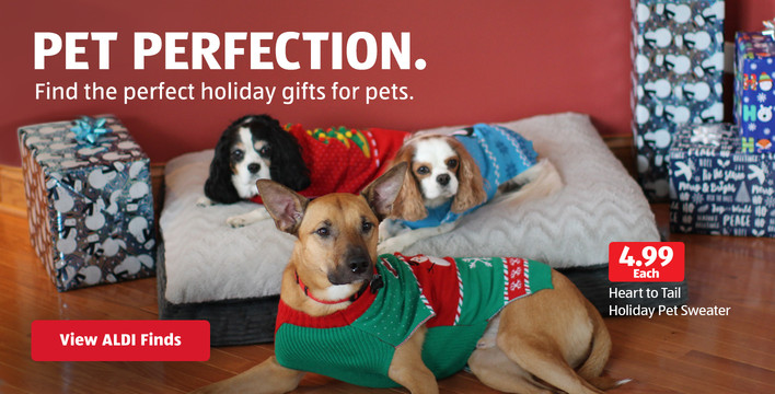 Find the perfect holiday gifts for pets. View ALDI Finds.