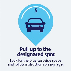 Pull up to the designated spot. Look for the blue curbside space and follow instructions on signage.